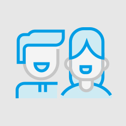Animation of smiling man and woman
