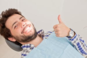 man relaxed in the dental chair